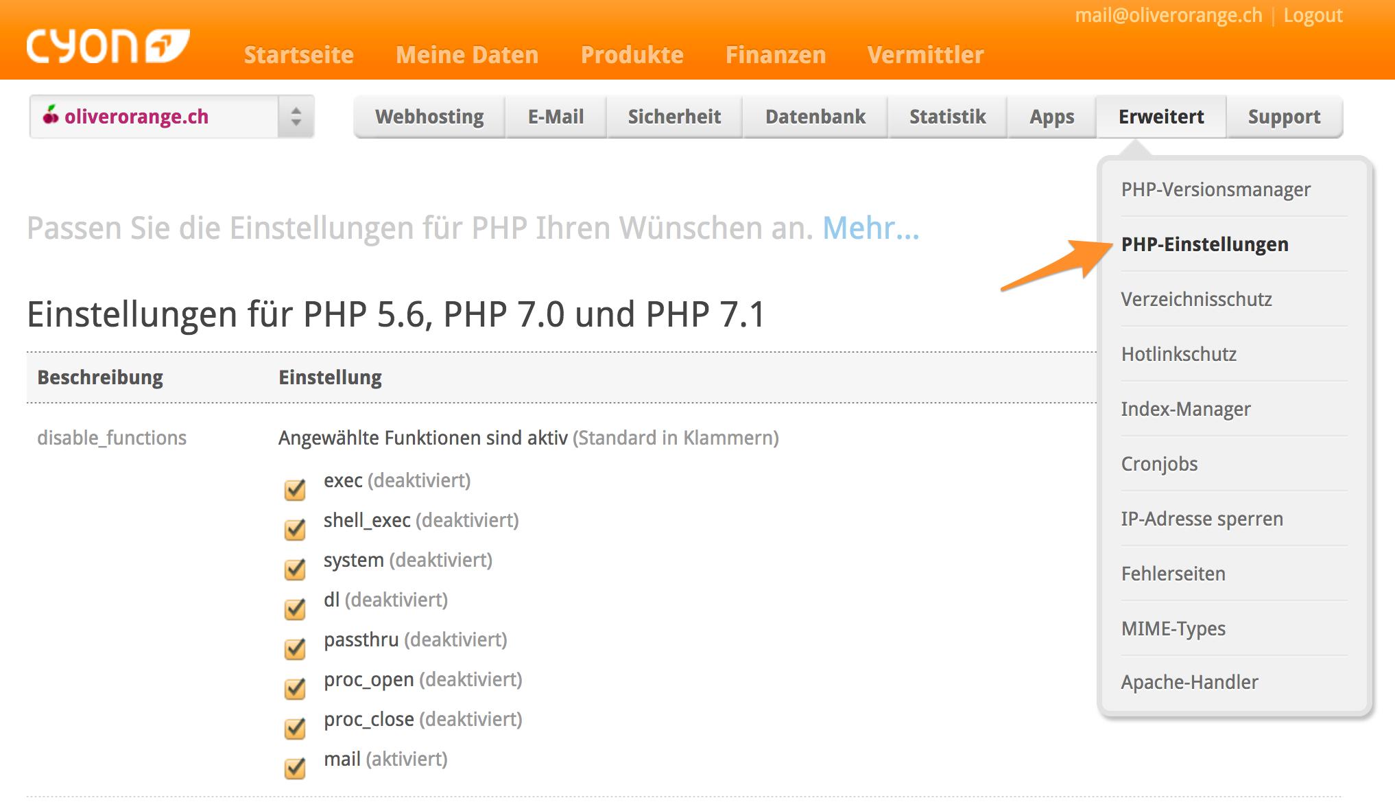 PHP-Einstellungen im my.cyon Anpassen
