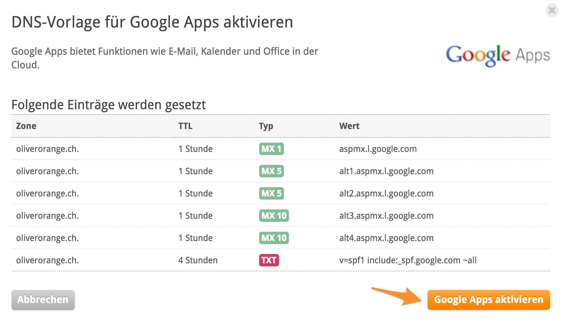 Wie kann ich Google Apps mit meiner Domain verwenden?