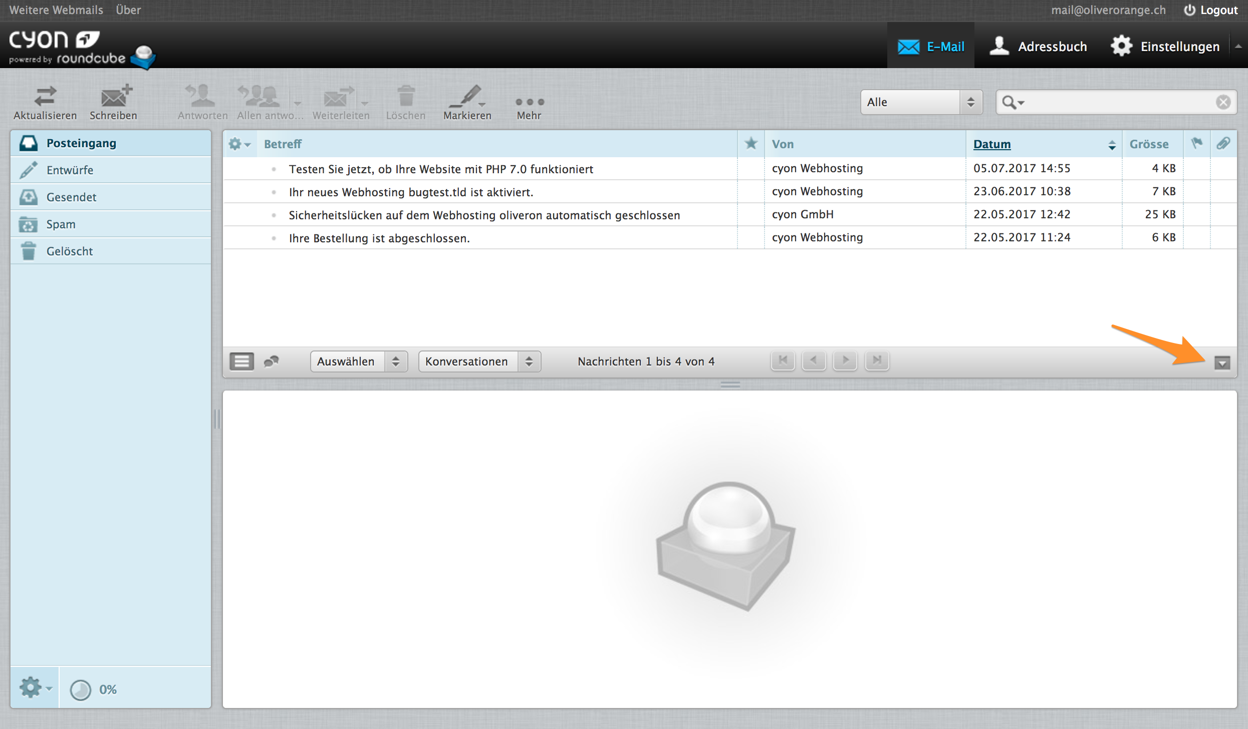 E-Mail-Vorschau ausblenden