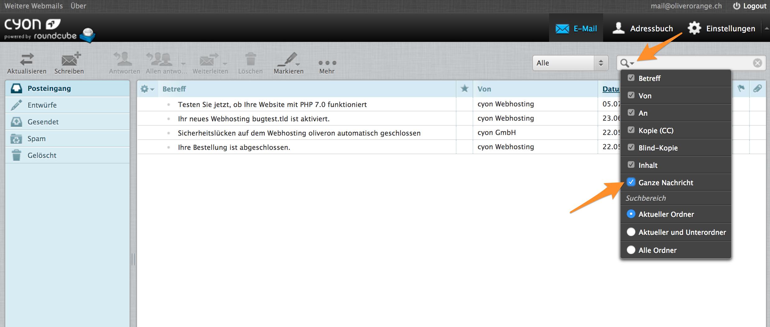 Suchoptionen im Webmail