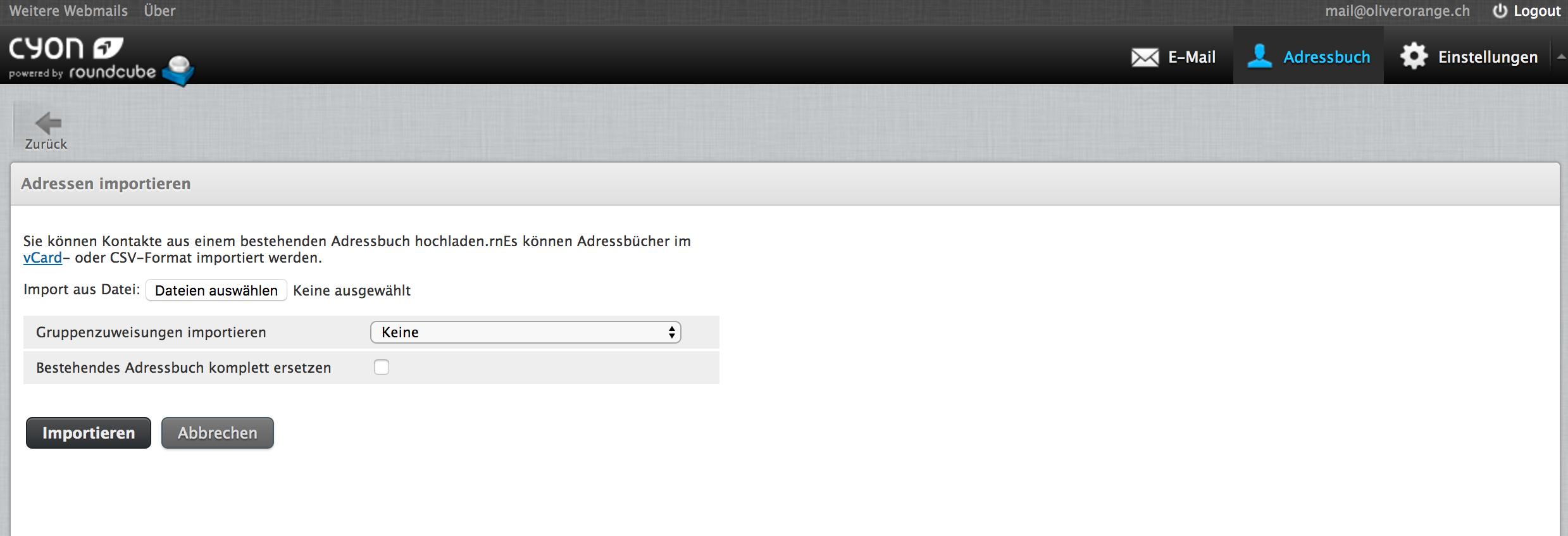 Kontakte im Webmail importieren