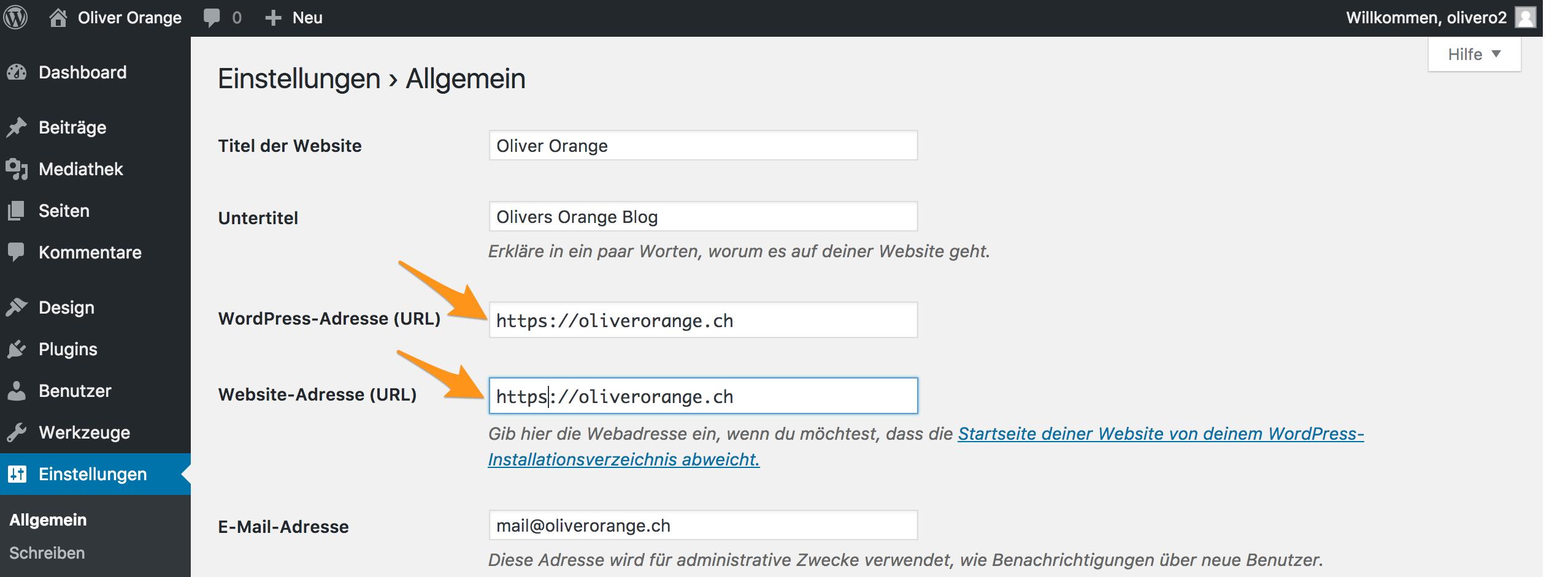 Anpassung der URL auf https