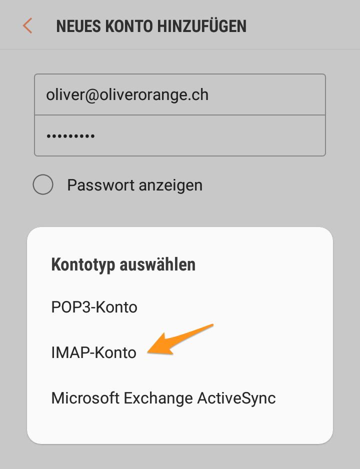 Wählen Sie «IMAP-Konto» und bestätigen Sie die Eingabe