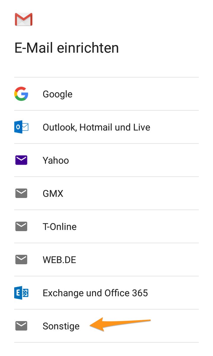 Optionen für neues E-Mail-Konto