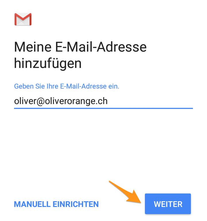 E-Mail-Adresse eingeben und bestätigen