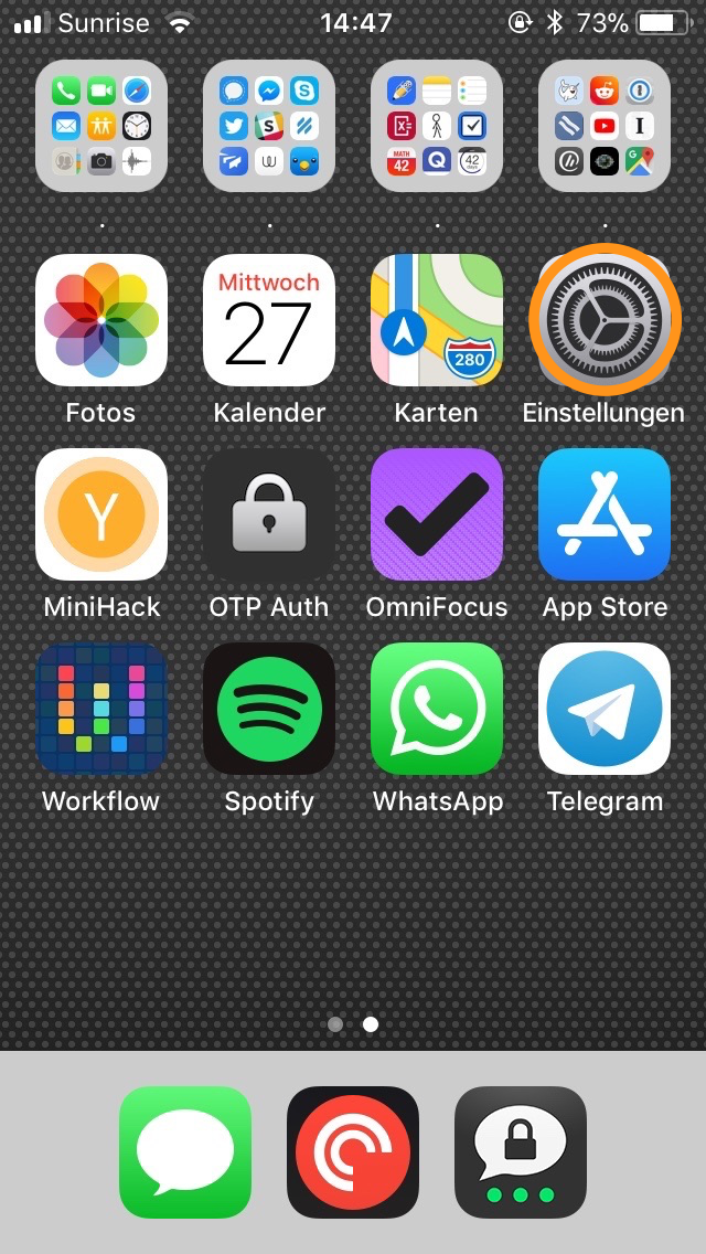 Einstellungen von iOS starten