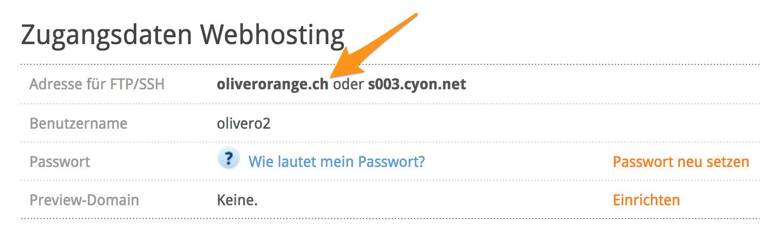Zugangsdaten Webhosting - Server