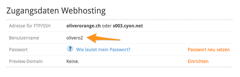 Zugangsdaten Webhosting - Hauptbenutzer Webhosting