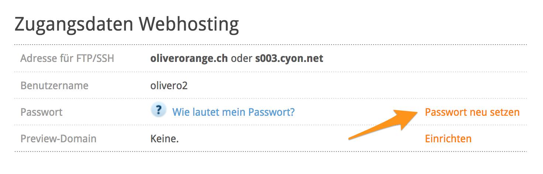 Zugangsdaten Webhosting - Passwort