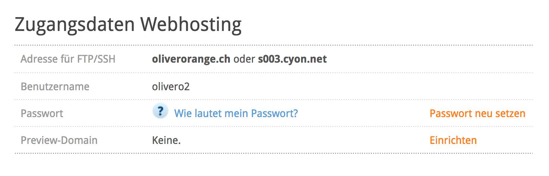 Zugangsdaten Webhosting - Beispiel oliverorange.com