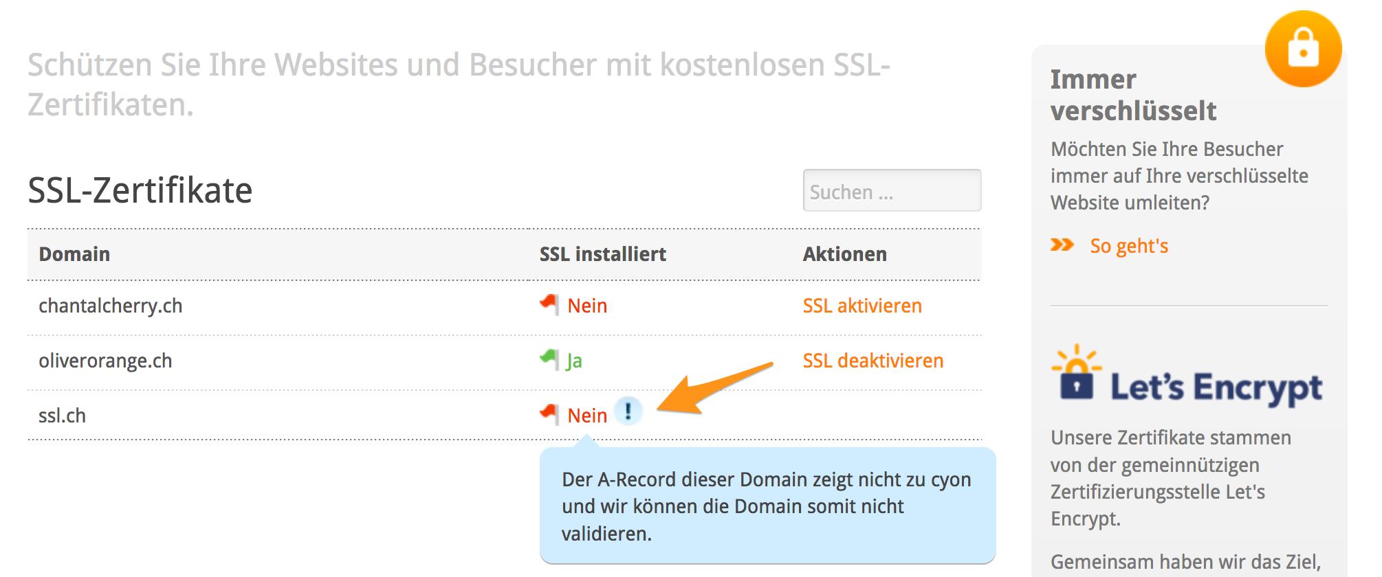 Fehlermeldung bei Domains wo der A-Record nicht zu cyon zeigt