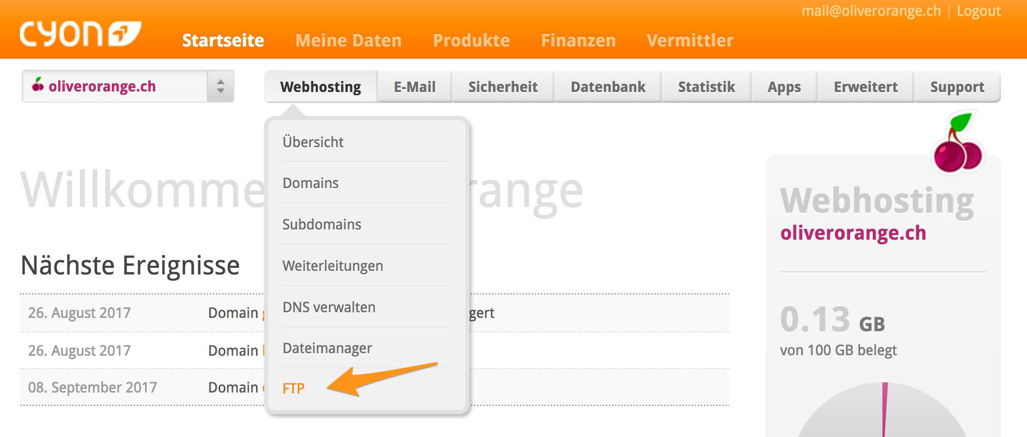 Menü «webhosting»> «FTP» im my.cyon