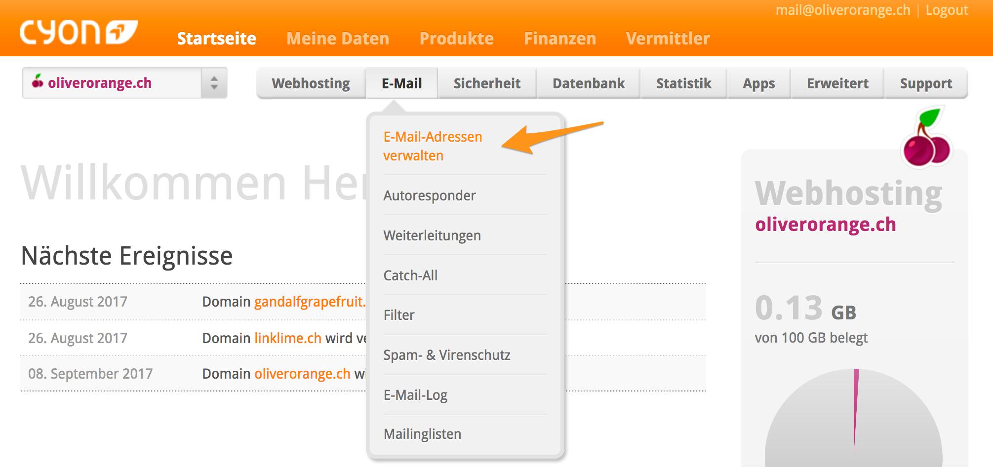 Menü «e-mail»> «E-Mail-Adressen verwalten» im my.cyon