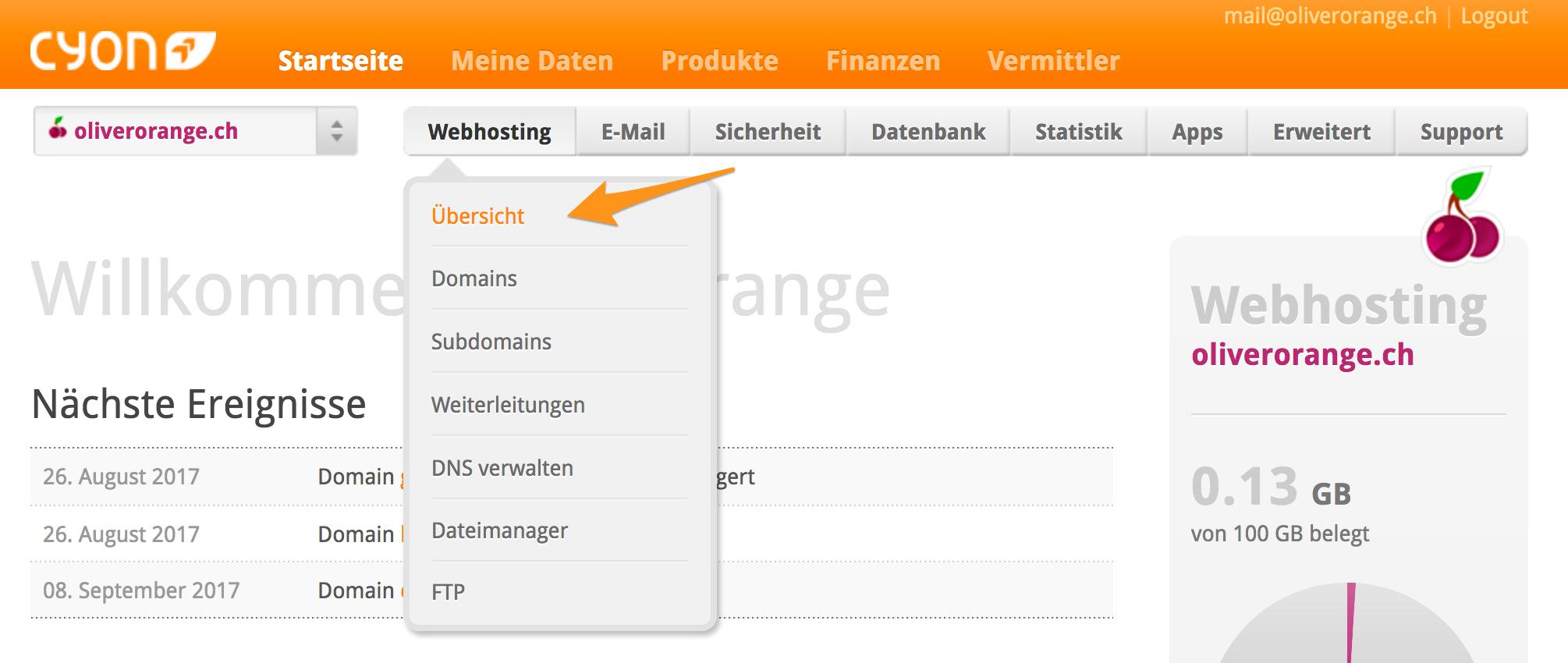 Menü «webhosting»> «Übersicht» im my.cyon