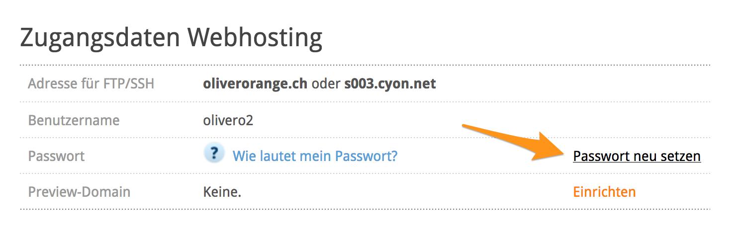 Webhosting-Passwort ändern