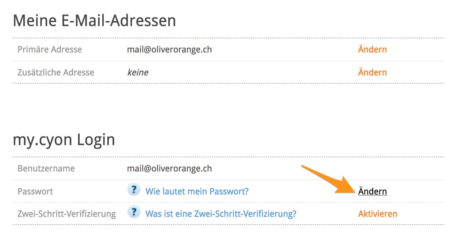 my.cyon-Passwort ändern