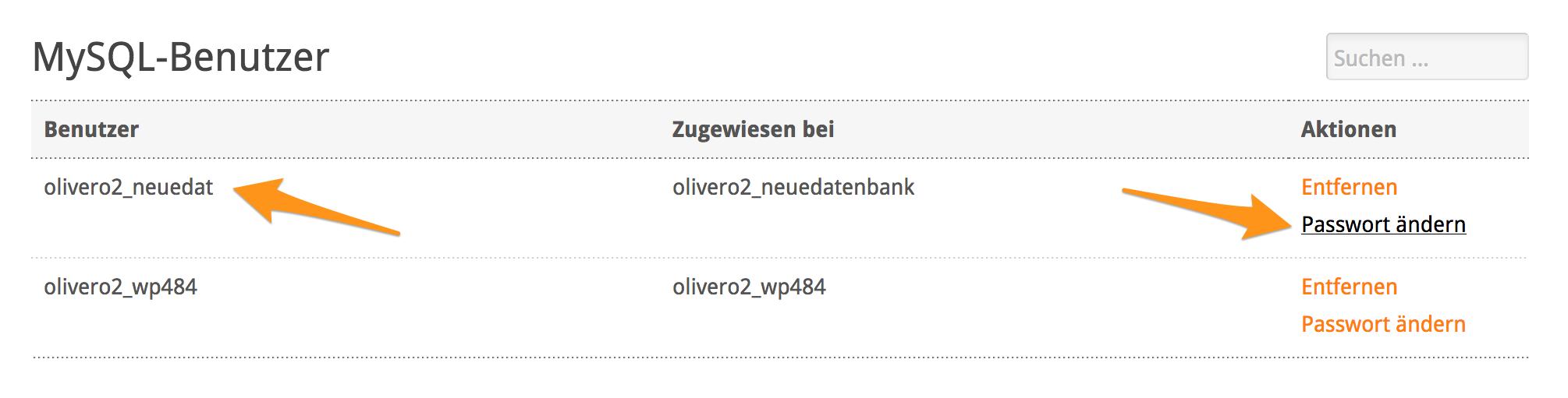 Passwort von Datenbank-Benutzer ändern