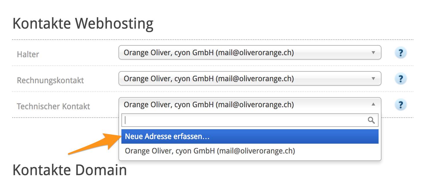 Neue Adresse erfassen als «Technischer Kontakt»