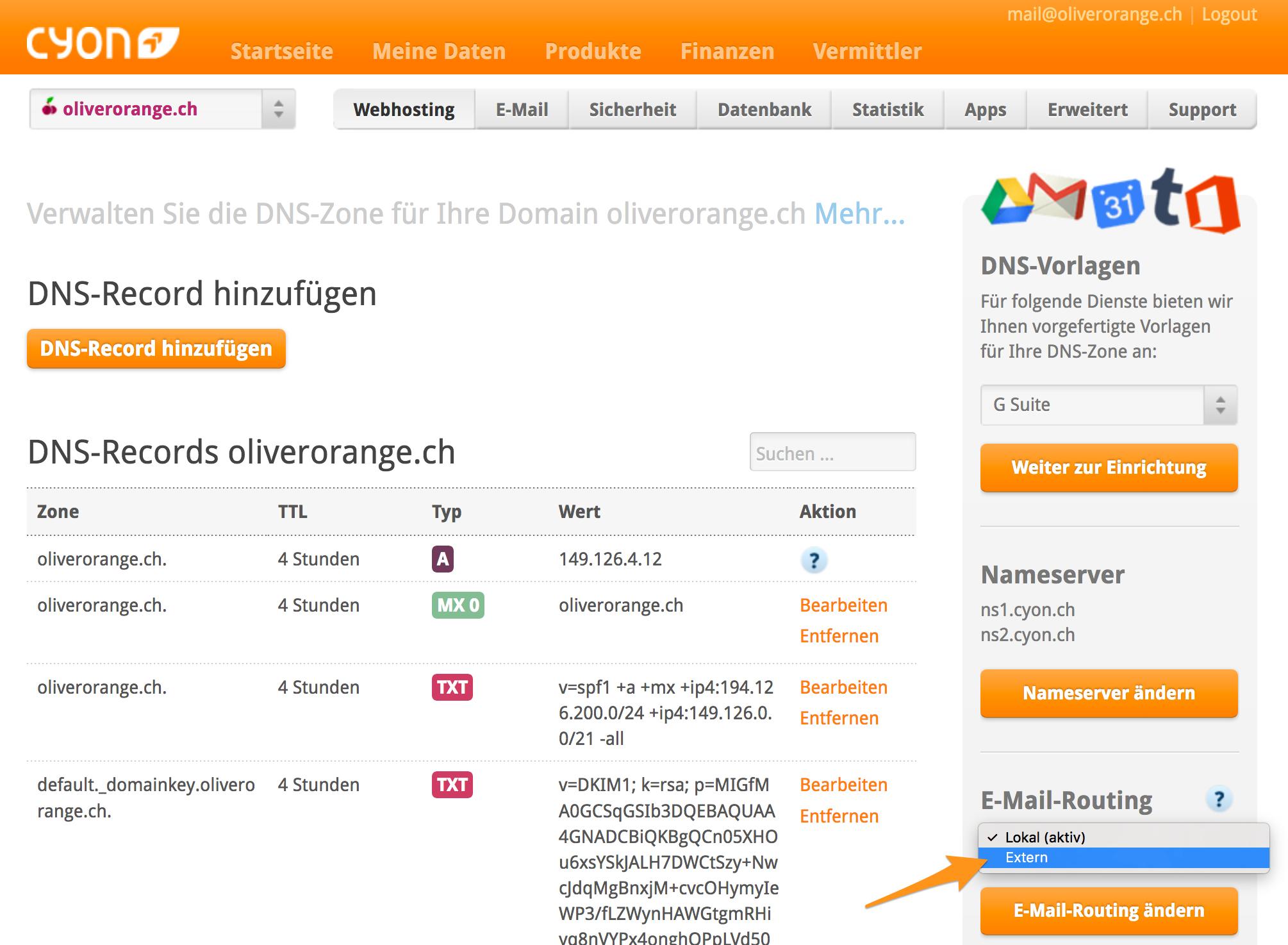 «E-Mail-Routing» unter «DNS verwalten»