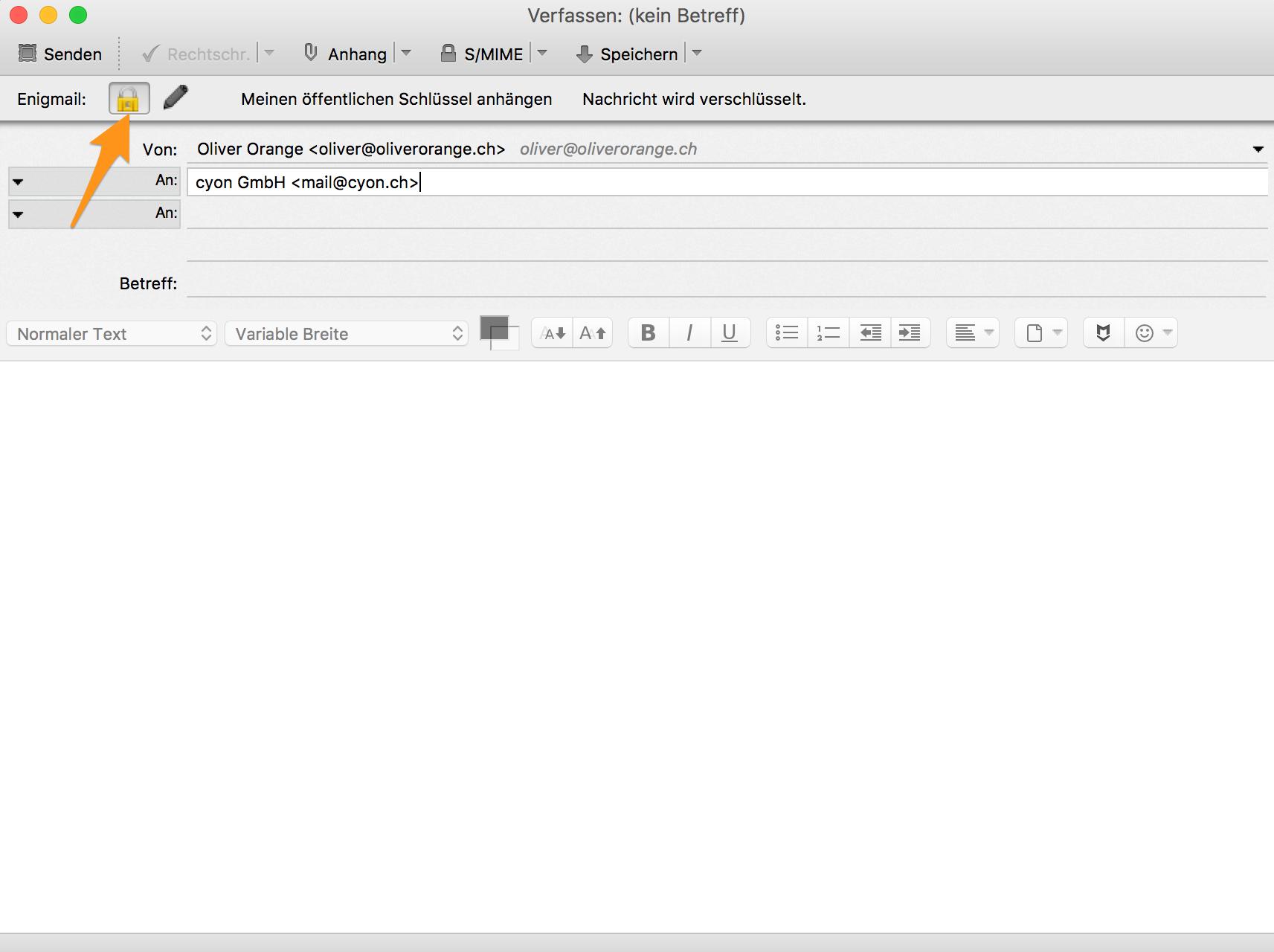 E-Mail mit Verschlüsselung verfassen