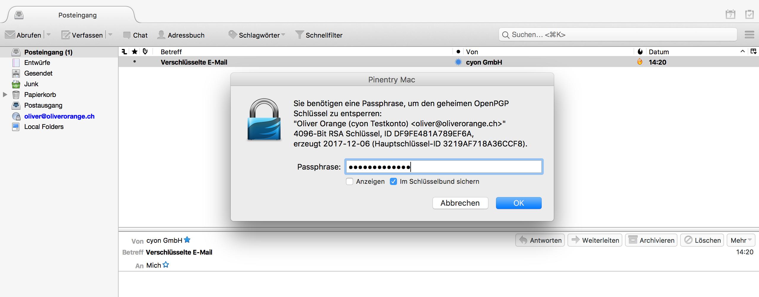Passphrase für PGP-Schlüssel eingeben