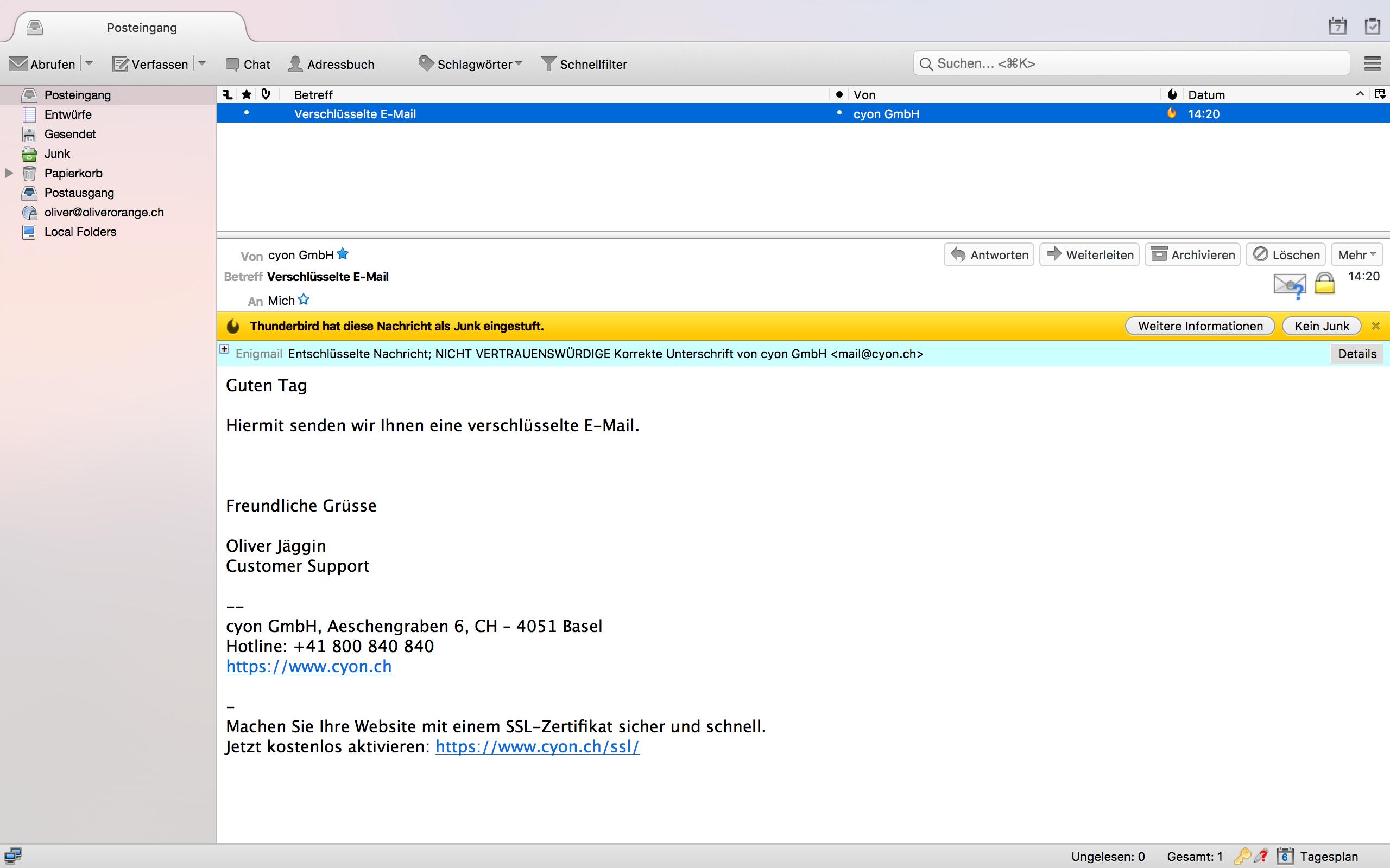 Verschlüsseltes E-Mail empfangen