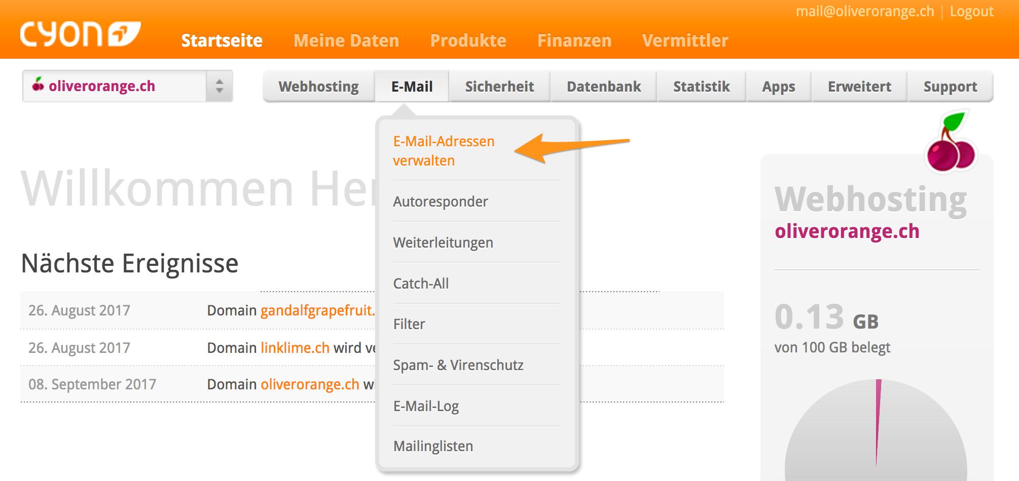 Menü «E-Mail-Adressen verwalten» im my.cyon