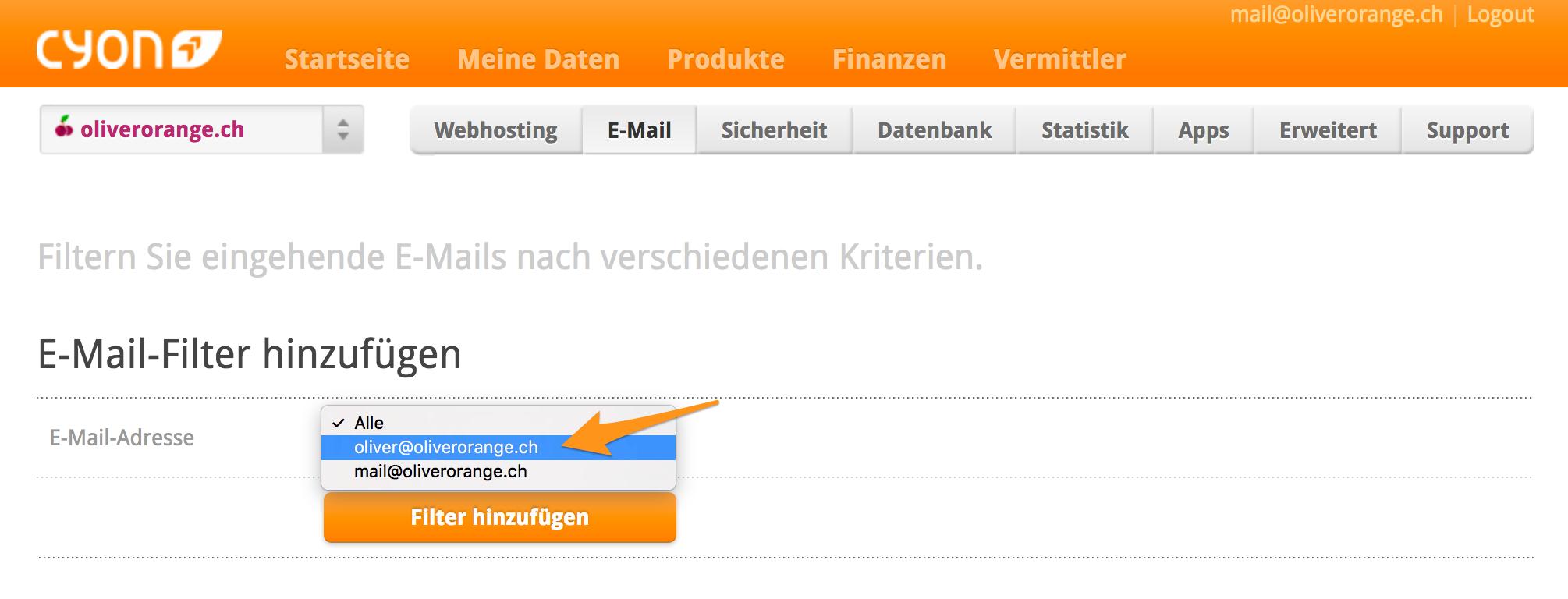 E-Mail-Filter hinzufügen
