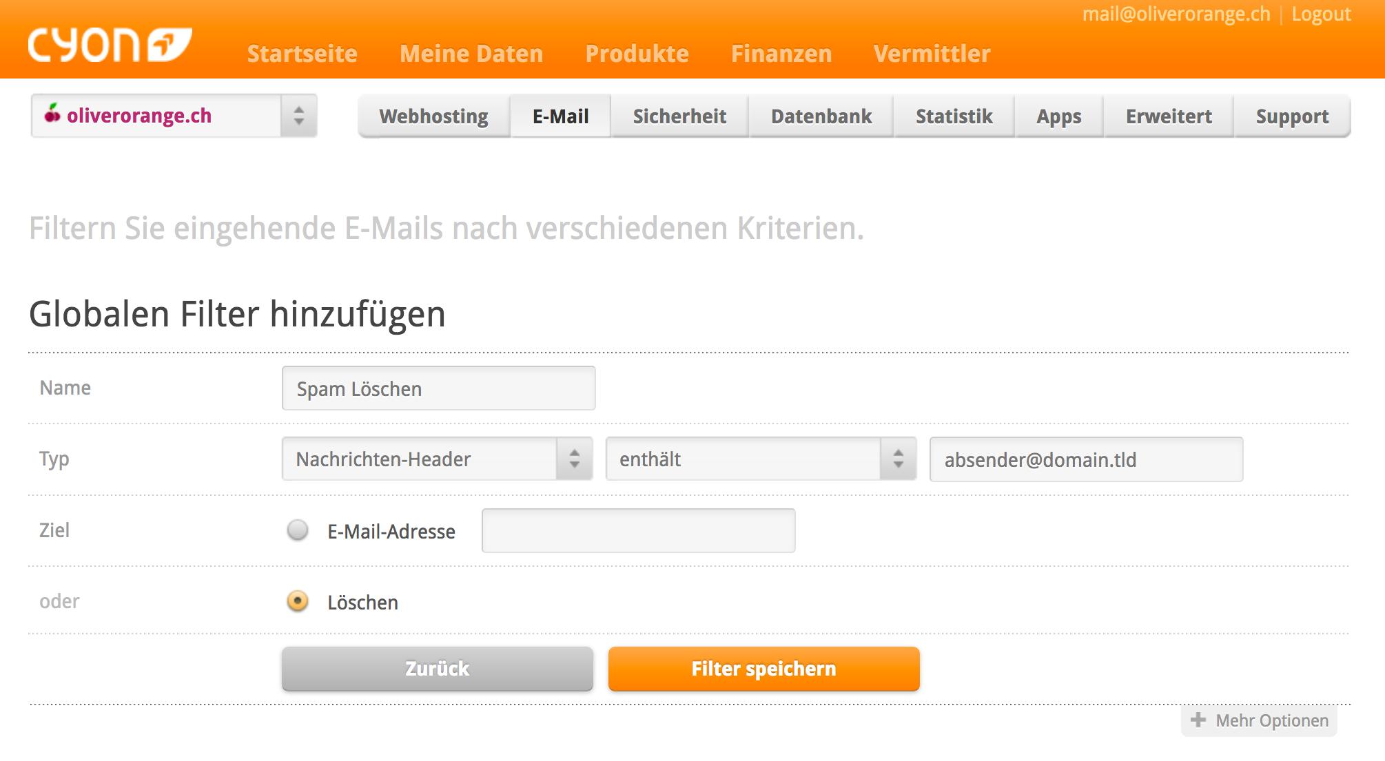 Filter einrichten um Spam-Mail direkt zu löschen
