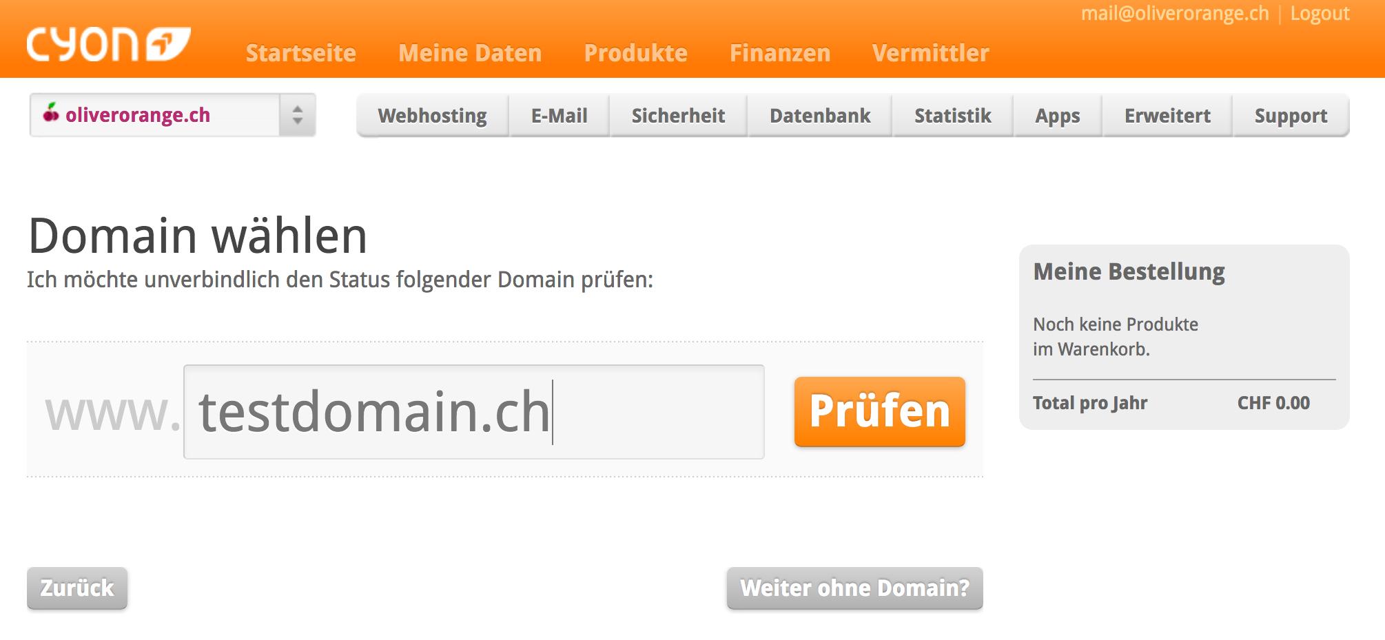 Überprüfen vom Domainstatus