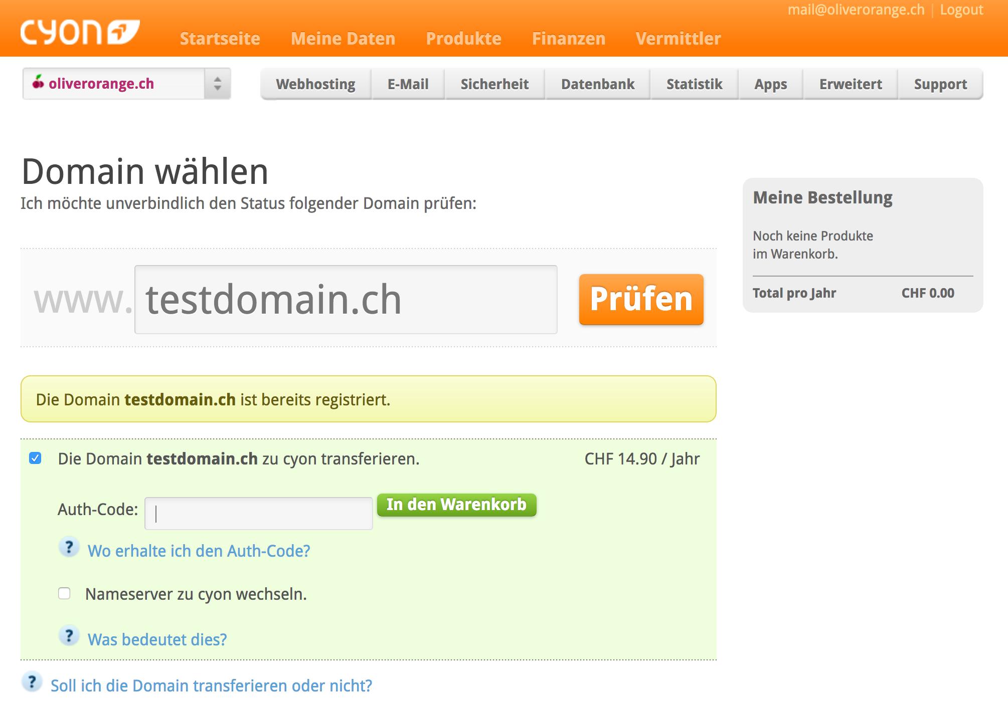 Domain Transfer einleiten
