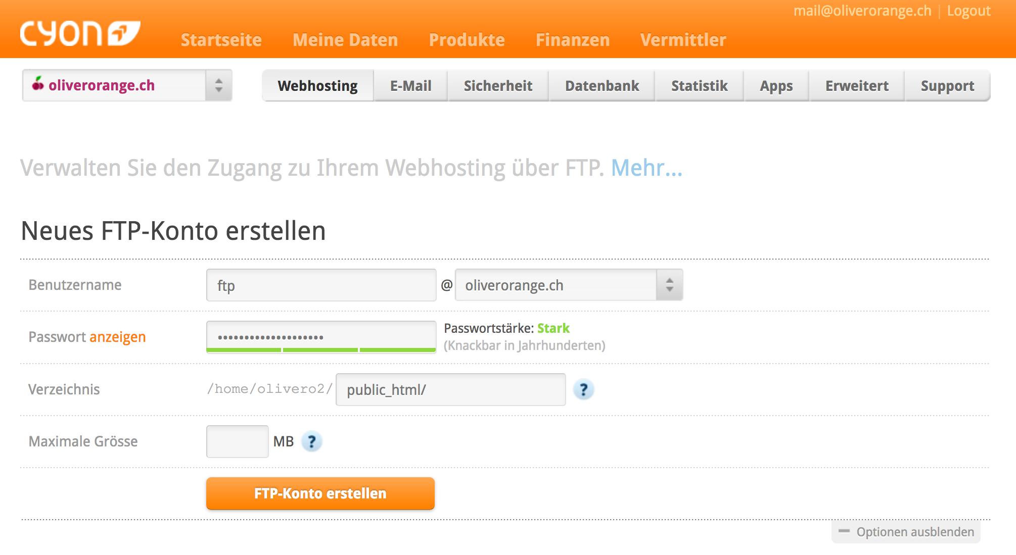 Neues FTP-Konto erstellen