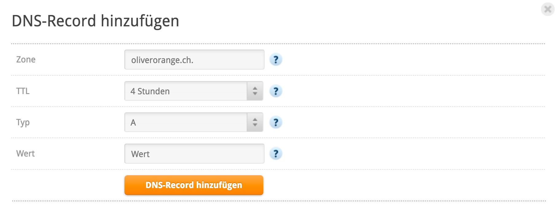 DNS Record hinzufügen