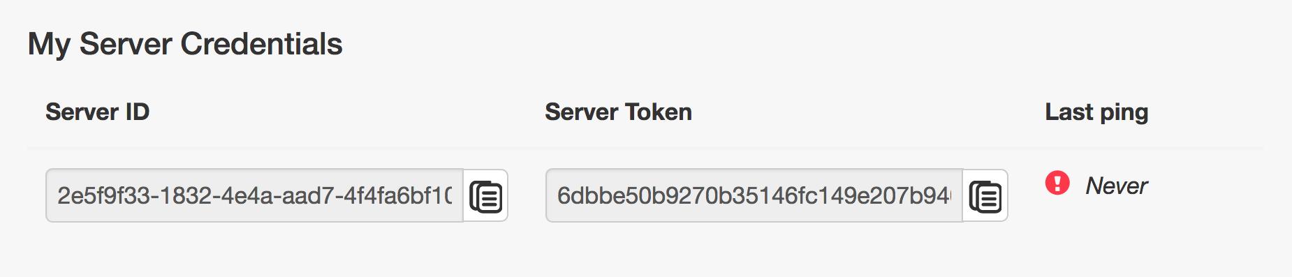 Kopiere die «Server Credentials» unter dem Menüpunkt «My Account»