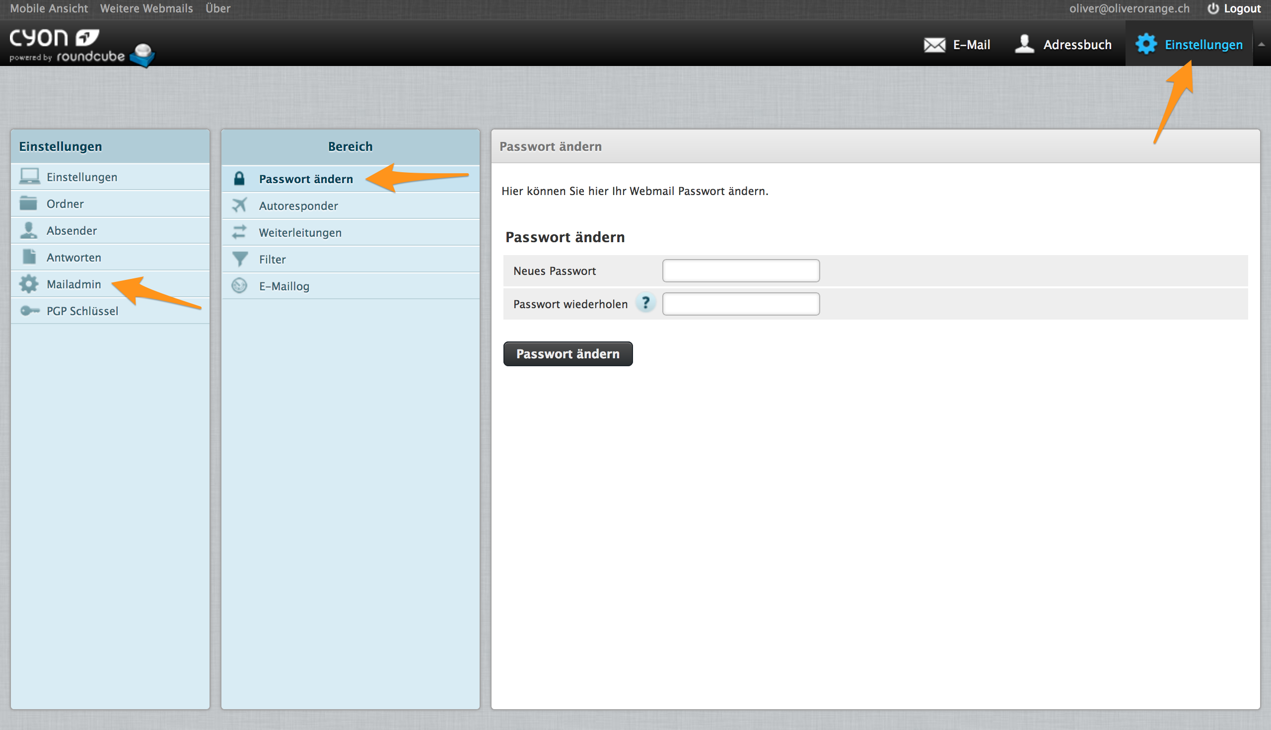 Menü «Passwort ändern» im Webmail