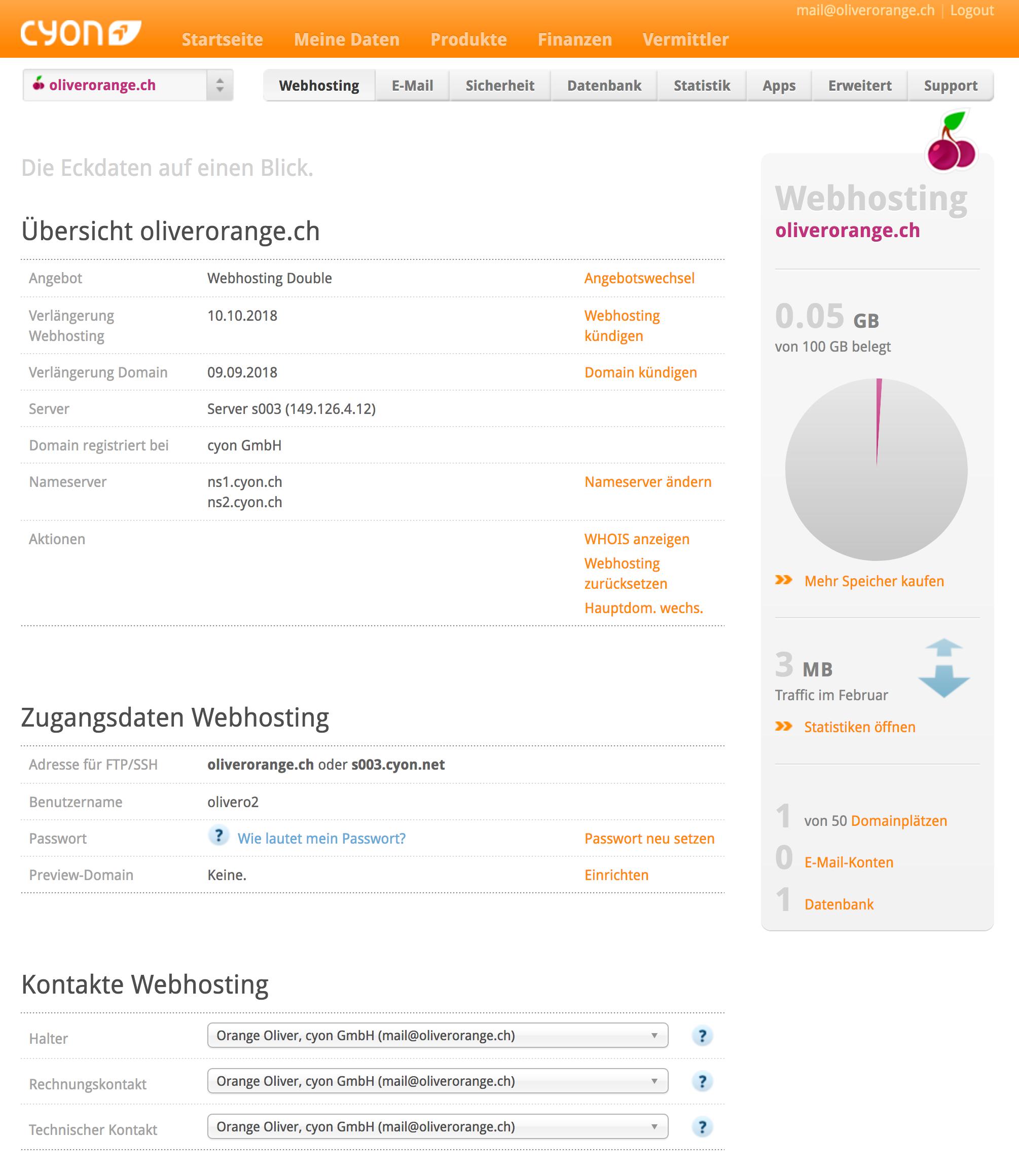 """Die seite """"webhosting""""> """"Übersicht"""" im my.cyon"""