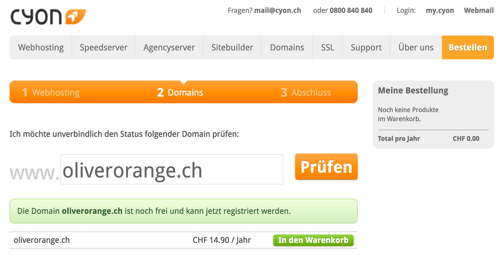 Domain ist noch frei