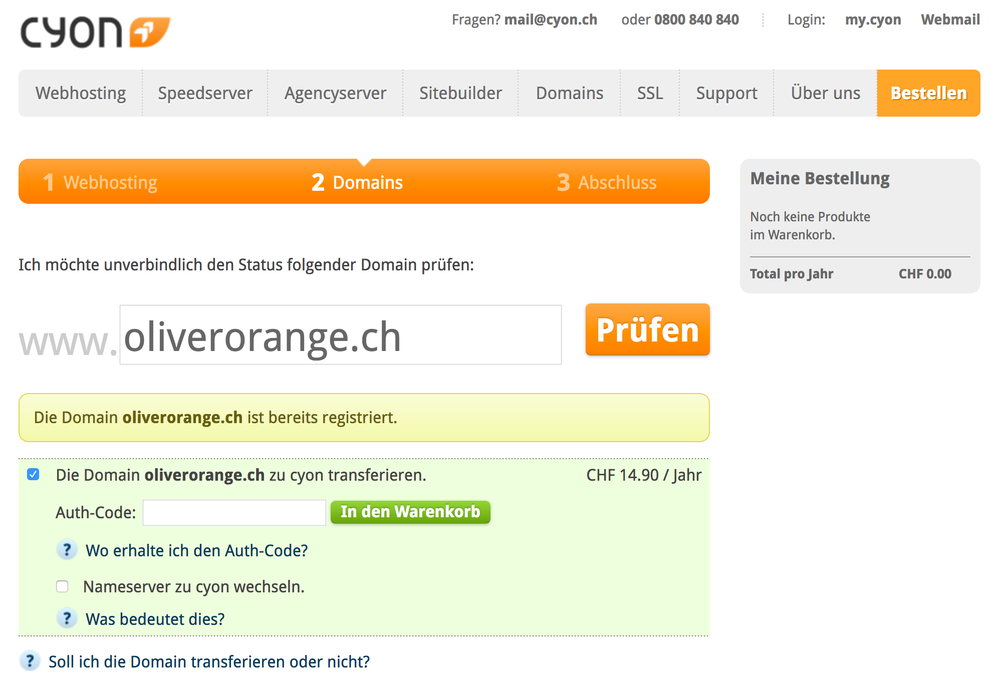 Domain ist extern registriert/Domain-Transfer