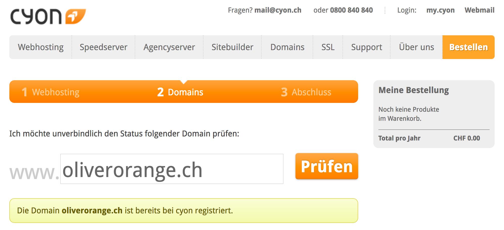 Domain ist bereits bei cyon registriert