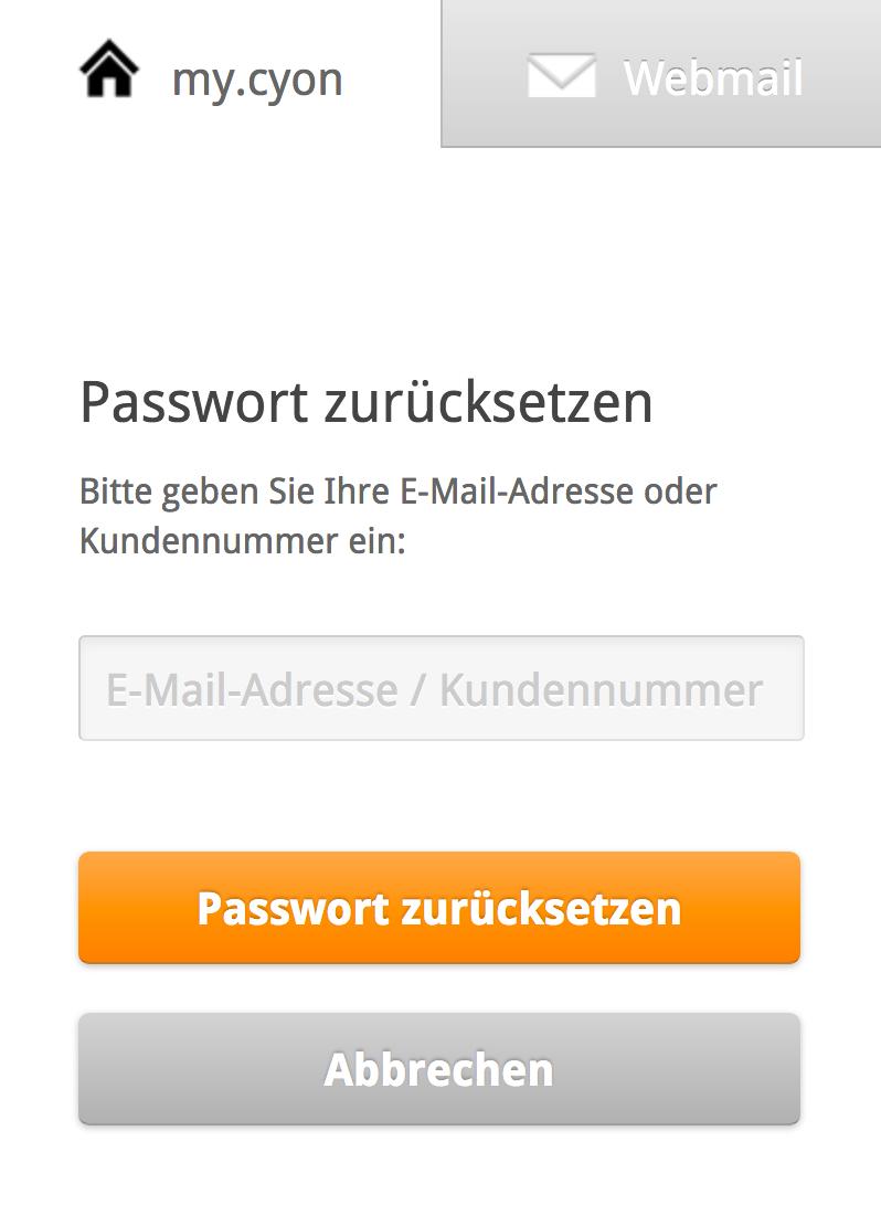 my.cyon Passwort vergessen