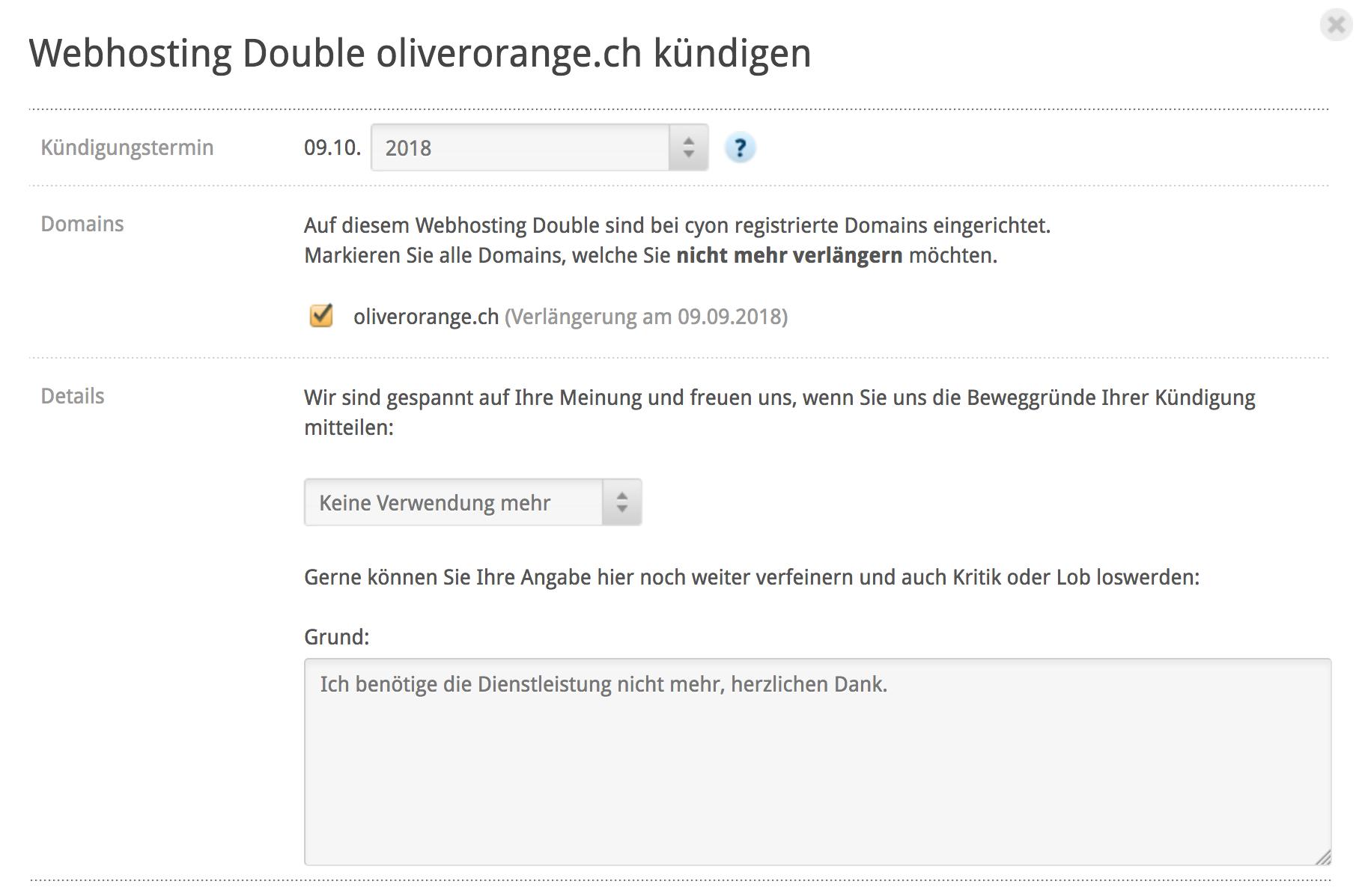 Optionen bei Kündigung «Webhosting/Sitebuilder»