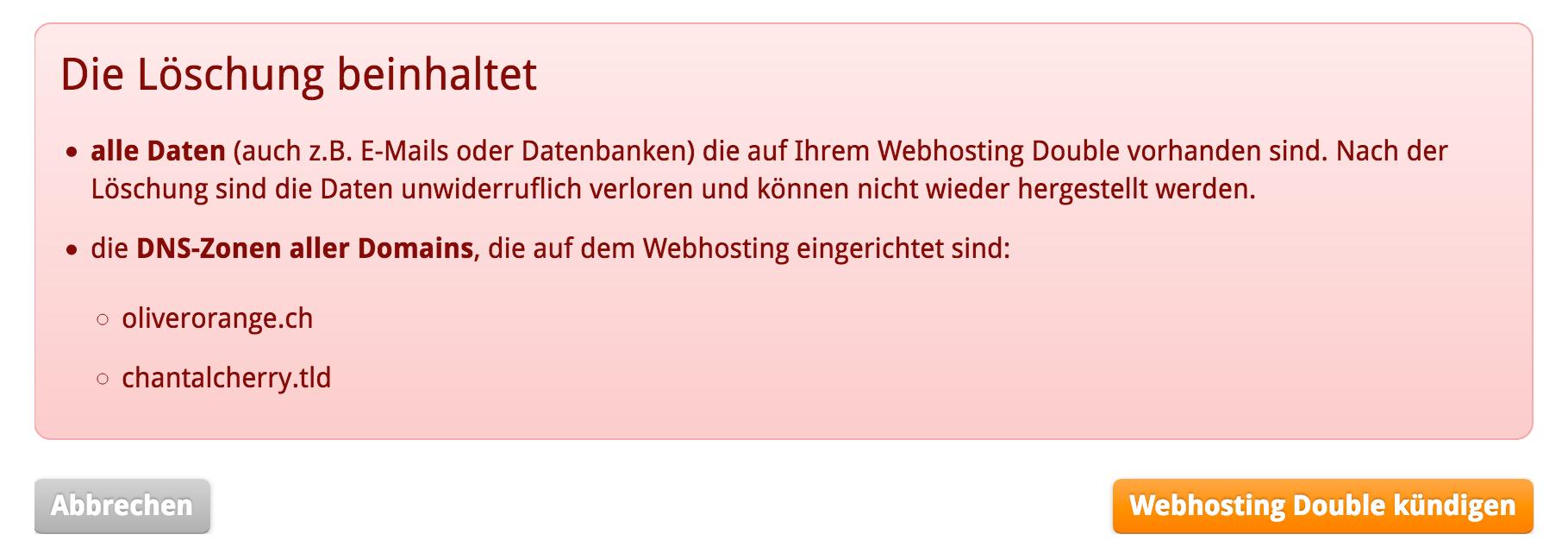 Hinweis bei Kündigung «Webhosting/Sitebuilder»