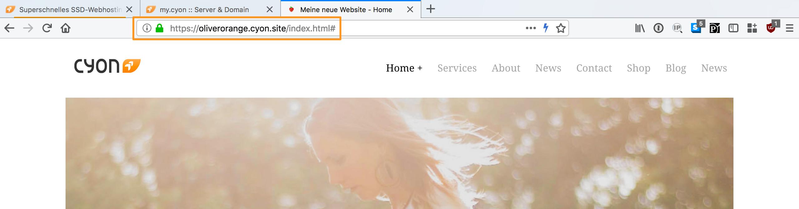 Website wird über SSL verschlüsselt angezeigt