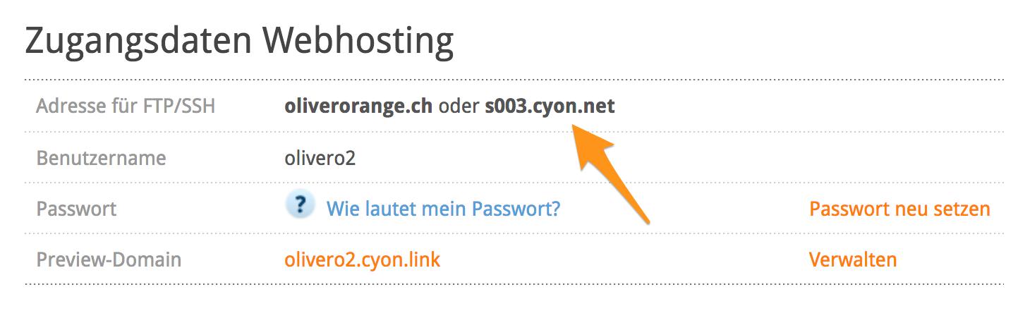 Der Servername Ihres Webhositngs im my.cyon