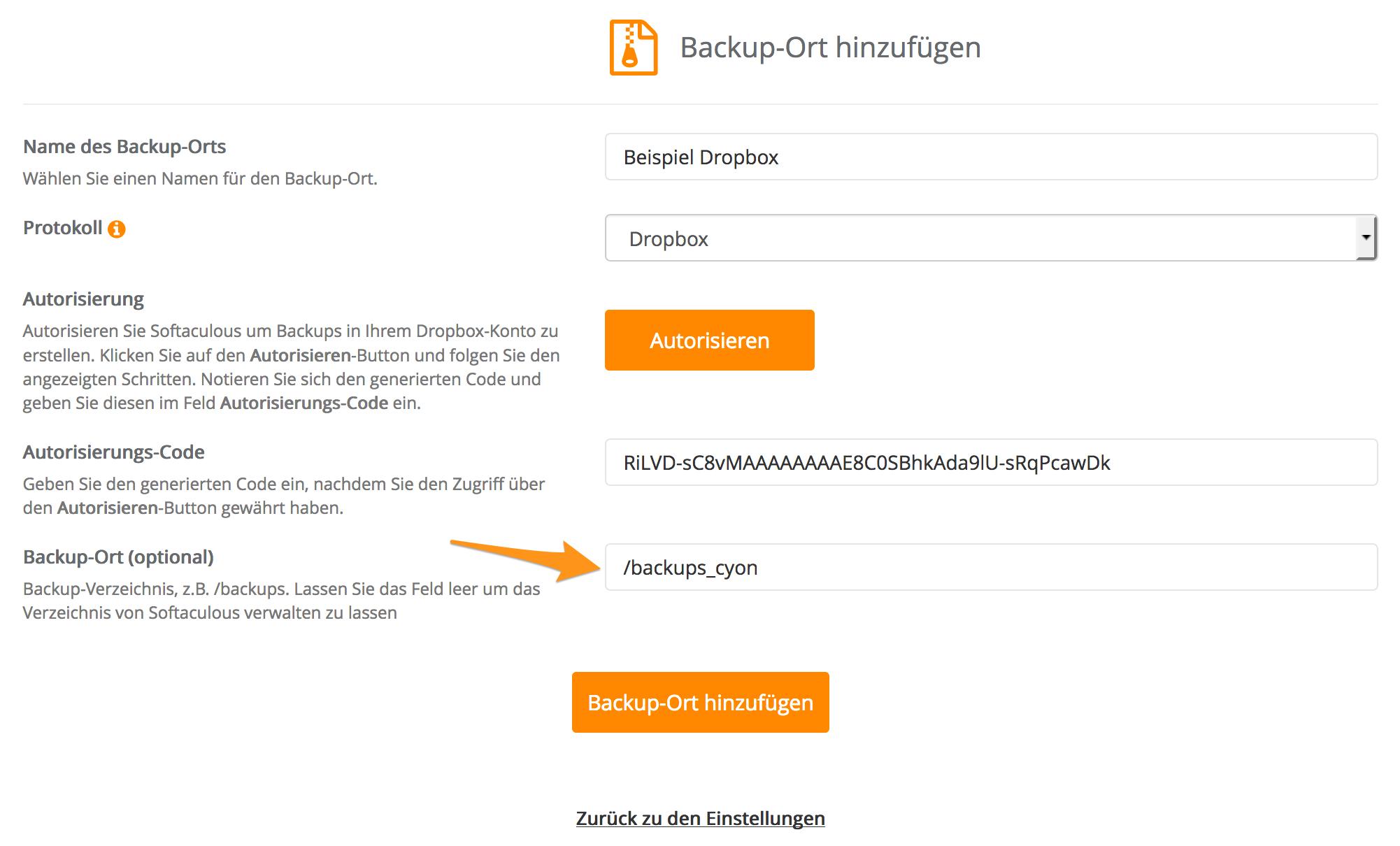 Backup-Ort auf Dropbox hinzufügen