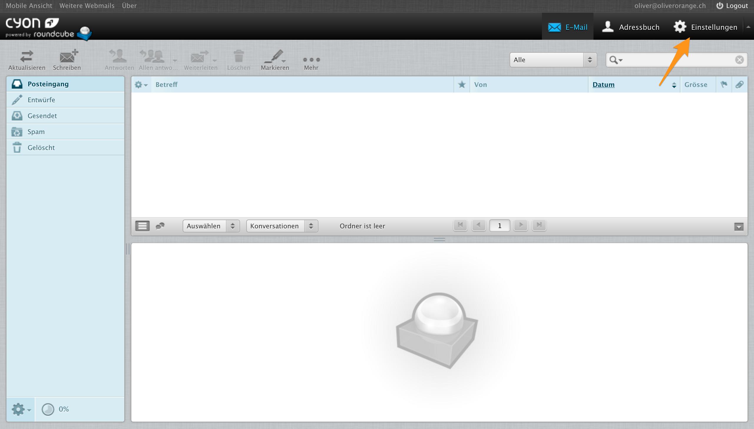 Menü «Einstellungen» im Webmail