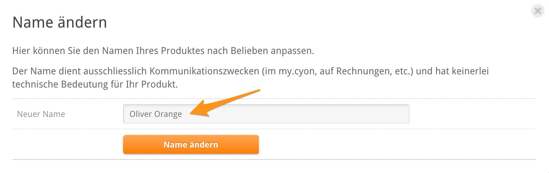 Name des Webhostings ändern