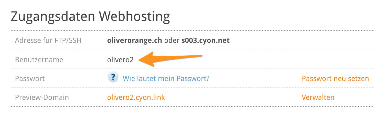 Abschnitt «Zugangsdaten Webhosting» im my.cyon unter «Übersicht»