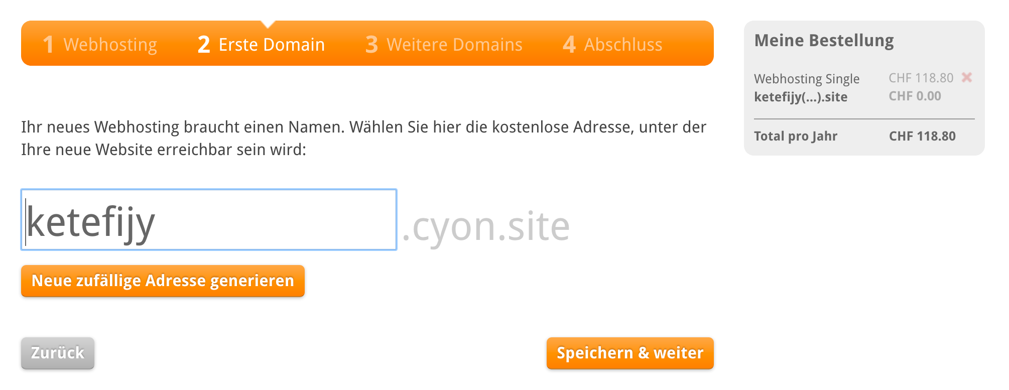 Zufällig generierter Name für dein Webhosting