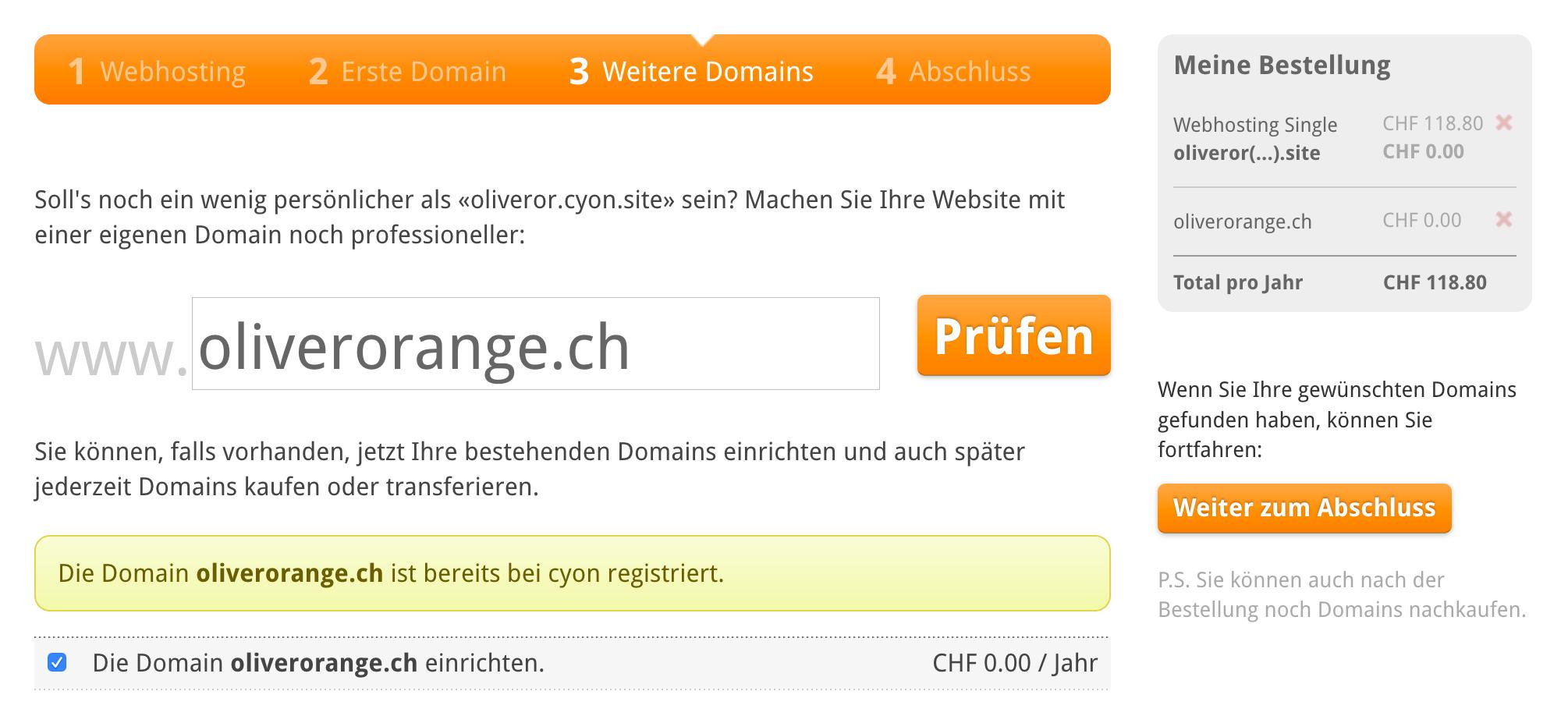 Ihre eigene Domain einrichten